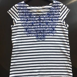 Anthropologie meadow blue striped embroidered top